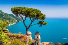 Amalfi Coast, Campania, Italy. Scenic picture-postcard view of famous Amalfi Coast with Gulf of Salerno from Villa Rufolo gardens in Ravello, Campania, Italy stock photos