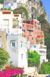 Amalfi Coast, Campania, Italy, in summer with traditional Italian architecture. On mountains royalty free stock image