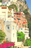 Amalfi Coast, Campania, Italy, in summer with traditional Italian architecture. On mountains stock photos