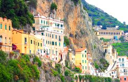 Amalfi Coast, Campania, Italy, in summer with traditional Italian architecture. On mountains royalty free stock photo