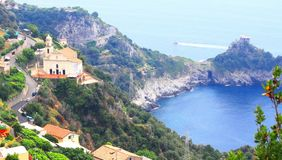 Amalfi Coast, Campania, Italy, in summer with traditional Italian architecture. On mountains royalty free stock photos