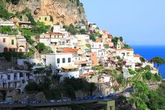 Amalfi Coast, Campania, Italy, in summer with traditional Italian architecture. On mountains royalty free stock images