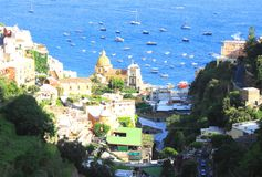 Amalfi Coast, Campania, Italy, in summer with traditional Italian architecture. On mountains royalty free stock photography