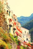 Amalfi Coast, Campania, Italy, in summer with traditional Italian architecture. On mountains stock image