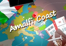 Amalfi Coast city travel and tourism destination concept. Italy. Flag and Amalfi Coast city on map. Italy travel concept map background. Tickets Planes and stock illustration