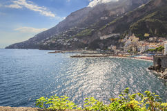 Amalfi coast (Costiera Amalfitana):panoramic view of Positano town.Italy (Campania). In the background the beach and the tourist port Stock Photo