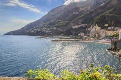 Amalfi coast (Costiera Amalfitana):panoramic view of Positano town.Italy (Campania). Stock Photo