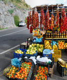 Amalfi Coast fruit stand. Lemons, oranges, peppers and dried tomatoes on sale on the Amalfi Coast road stock image