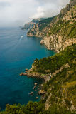 Amalfi Coast of Italy. The Amalfi Coast is the stretch of coastline on the southern side of the Sorrentine Peninsula of Italy, the Province of Salerno, extending royalty free stock photography