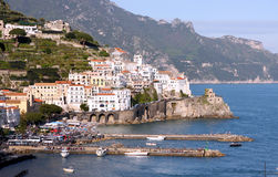 Amalfi Coast Italy. The Amalfi Coast or Costiera Amalfitana in the Sorrentine Peninsula in Southern Italy in the Bay of Naples royalty free stock photo