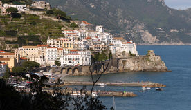Amalfi Coast Italy. The Amalfi Coast or Costiera Amalfitana in the Sorrentine Peninsula in Southern Italy in the Bay of Naples royalty free stock image