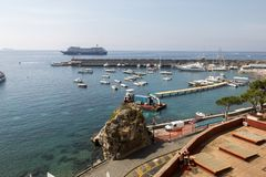 View of marina in Amalfi. Amalfi is a charming resort town on the scenic Amalfi Coast of Italy. Amalfi Coast, Italy - June 16, 2017: View of marina in Amalfi stock photos