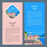 Amalfi Coast, Italy. Seaside resort town. Vector illustration. Postcard with sights. There is room for text royalty free illustration