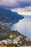 Amalfi coast looking from raod to  ravello mediterranean sea sou Stock Image