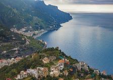 Amalfi coast looking from raod to ravello mediterranean sea sout Royalty Free Stock Photos