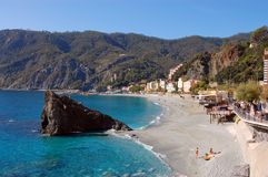 Amalfi Coast - Monterosso Beach. Beautiful beach on the Amalfi Coast stock images