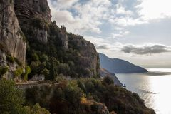 Amalfi coast near Naples in Italy. Amalfi coast on Sorrento Peninsula in South Italy royalty free stock photos