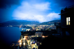 Amalfi Coast at Night. Lovely night view of the lights along the Amalfi coast with Mount Vesuvius Stock Image