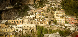 Amalfi Coast - panorama of houses on rocks in Positano stock image