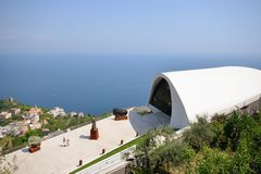 Amalfi Coast, Ravello. View from the Amalfi Coast village of Ravello; theatre with blue sky behind Royalty Free Stock Image