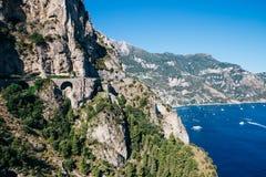 Amalfi coast road in Italy. Amalfi coast road and cliff in Italy Stock Photo