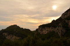 Amalfi Coast Rolling Hills with the Sun Setting Over the Hills royalty free stock photos