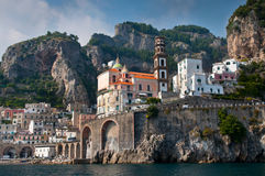 Amalfi Coast from the Sea. In Italy Royalty Free Stock Images