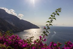 Amalfi coast near Naples in Italy. Amalfi coast on Sorrento Peninsula in South Italy stock images