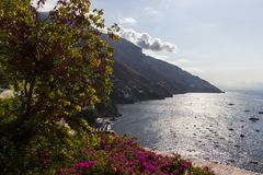 Amalfi coast near Naples in Italy. Amalfi coast on Sorrento Peninsula in South Italy royalty free stock images