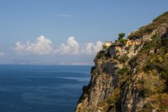 Amalfi coast near Naples in Italy. Amalfi coast on Sorrento Peninsula in South Italy stock photography