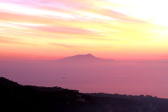 Amalfi Coast Sunset Italy. Gorgeous Sunset in the Amalfi Coast Royalty Free Stock Image