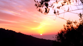 Amalfi Coast Sunset Italy. Gorgeous Sunset in the Amalfi Coast Royalty Free Stock Photography