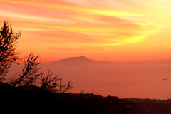 Amalfi Coast Sunset Italy. Gorgeous Sunset in the Amalfi Coast Stock Photo