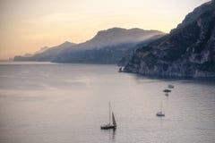 Amalfi Coast at sunset. Royalty Free Stock Photo