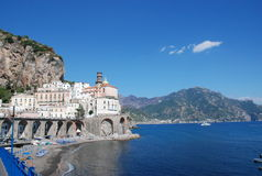 Amalfi Coast town of Almati. This is the beach town of Almati, along the Amalfi Coast in Italy.  Almati is south of Postiano and Sorrento Royalty Free Stock Photo