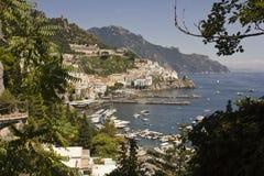 Amalfi Coast through Vegetation Stock Photography