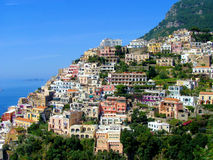 Amalfi coast view. View of town of Positano on the beautiful Amalfi Coast of Italy stock image