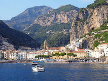 The Amalfi Coast. Views of the beautiful Amalfi Coast of the Mediterranean Sea in Italy. Charming towns of white washed buildings, lovely churches and stone royalty free stock images