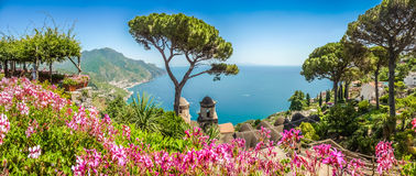 Amalfi Coast from Villa Rufolo gardens in Ravello, Campania, Italy. Scenic picture-postcard view of famous Amalfi Coast with Gulf of Salerno from Villa Rufolo Stock Images