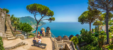 Amalfi Coast from Villa Rufolo gardens in Ravello, Campania, Italy Stock Images