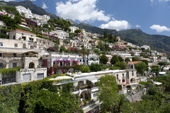 Amalfi Coast village. Houses against clife face royalty free stock photo