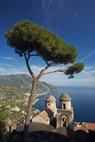 Amalfi Coastal View. A view of the Amalfi coast line from the majestic gardens of Rufolo in Ravello stock image