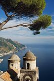 Amalfi Coastal View. A view of the Amalfi coast line from the majestic gardens of Rufolo in Ravello stock photo