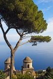 Amalfi Coastal View. A view of the Amalfi coast line from the majestic gardens of Rufolo in Ravello stock photos