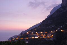 Amalfi Coastline at Dusk Royalty Free Stock Photos