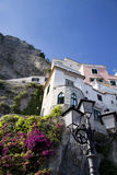 Amalfi houses with lamp post Royalty Free Stock Image