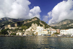 Amalfi, Italy. A spectacular view of village from the sea  in a fall sunny day Stock Image