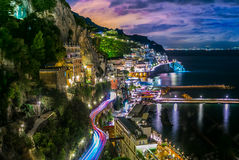 Amalfi Italy coast. Night view of Amalfi Italy. Amalfi Coast (Costiera Amalfitana Stock Photos