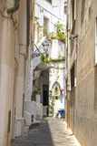 Streets of Amalfi. At Amalfi - Italy - On July 2018 - Lively street in the historical center of the town stock photos