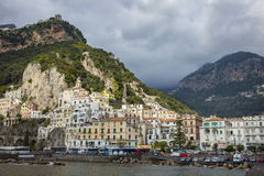 AMALFI ITALY - NOVEMBER 5 :tourist bus parking in car park of amalfi coast important traveling destination on november 5, 2016 in. Amalfi town south italy Stock Photos
